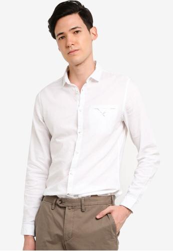OVS 白色 休閒長袖襯衫 CD075AA18F74DFGS_1