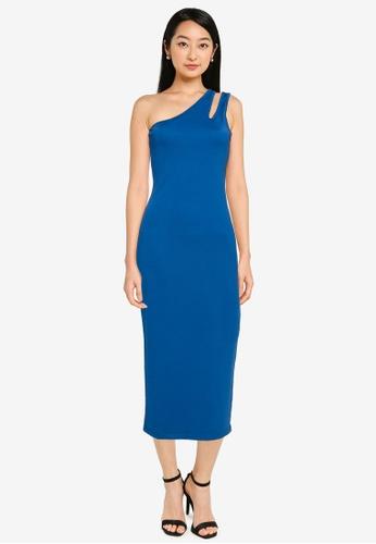 ZALORA BASICS blue Cut Out Toga Bodycon Dress B8353AA051A91FGS_1