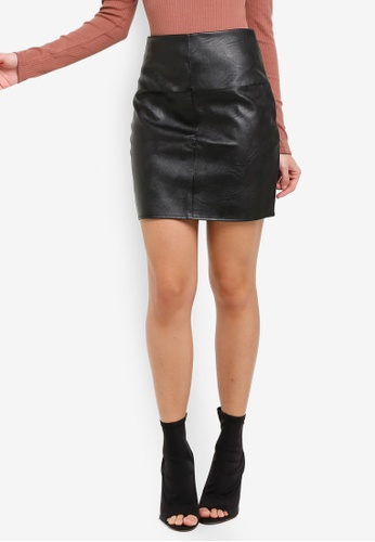 MISSGUIDED black Tall Faux Leather Mini Skirt 8A3BCAAC4B6597GS_1
