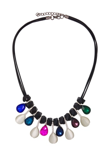 Jaysa Collection black Chic Cat's Eye Jewel Necklace with Assorted Crystals JA875AC14CGNSG_1