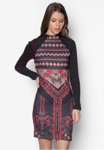 Trisha 印zalora 包包評價花長袖連身裙, 服飾, 短洋裝
