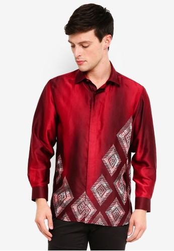 Gene Martino red Men's Batik Diamond Shapes Shirt 563AEAABA794E5GS_1