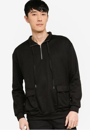 ZALORA BASICS black Duo Pocket High Neck Sweatshirt 8D76AAAC87C916GS_1