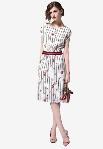 Sunnydaysweety white Floral Striped Pattern Short Sleeve One Piece Dress 6853EAA49FD3A7GS_1