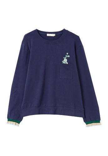 Its Me navy Retro Print Crew Neck Sweater T-Shirt 33C82AAD8A80F6GS_1