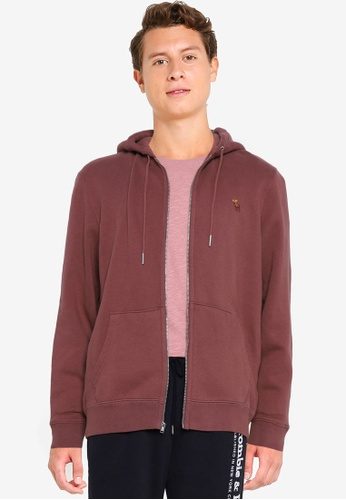 Abercrombie & Fitch red Lifelike Icon Zip Hoodie F2991AA41B51A3GS_1