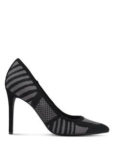 ZALORA black Knitted Fabric Heels 8F819ZZ7BB8548GS_1