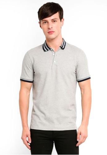 UniqTee grey Slim Fit Bomber Stripe Polo Shirt EBD10AA1D662A3GS_1