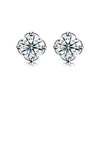 Glamorousky white 925 Sterling Silver Sparkling Simple Elegant Fashion Flower Ear Studs and Earrings with Cubic Zircon CD5D3ACF426F58GS_1
