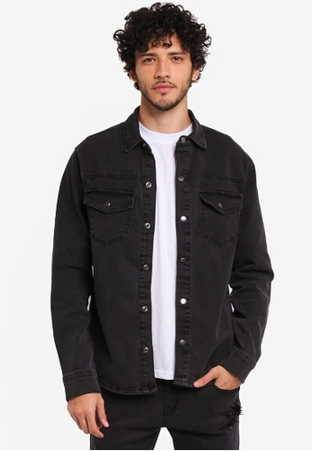 Only & Sons black Lucas Denim Shirt 73D1DAA4DDC68FGS_1