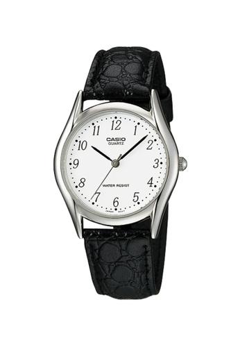 Casio black Casio Men's Analog MTP-1094E-7BDF Black Genuine leather Band Watch 938BCACDBCC2FFGS_1