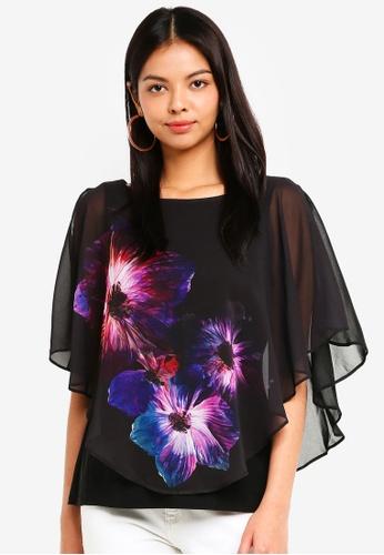 Wallis black Petite Black Floral Layered Top 67463AA26F3AAEGS_1