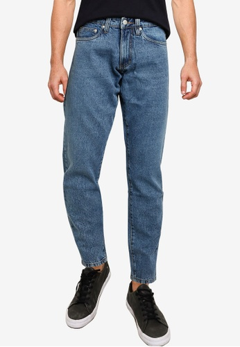 Electro Denim Lab blue Cropped Tapered Jeans FF40DAAC07707BGS_1