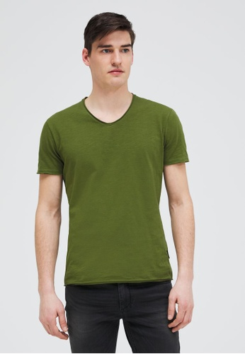 Sisley green V-neck T-shirt BDE82AA1547988GS_1