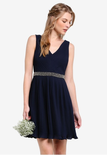 ZALORA navy Bridesmaid Pleated Mini Dress with Embellished Waistband 0F684AAF0E1850GS_1