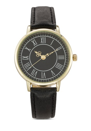 esprit sg羅馬數字圓框仿皮手錶, 錶類, 休閒型