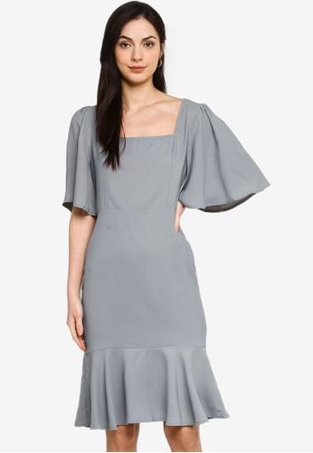 ZALORA OCCASION blue Square Neck Mermaid Dress 8FA47AA9F1F23EGS_1