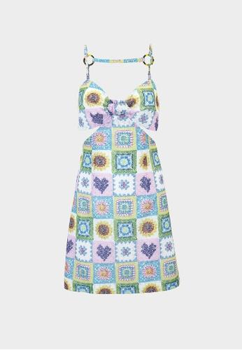 Pomelo multi Crochet Floral Cut Out Dress - Multi Color 15C55AA7E6939BGS_1