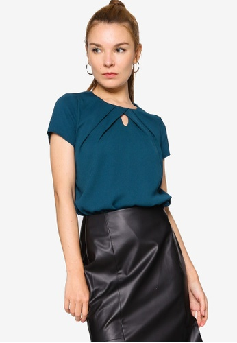 ZALORA WORK green Gathered Neck Keyhole Top 4E862AA205B9B2GS_1