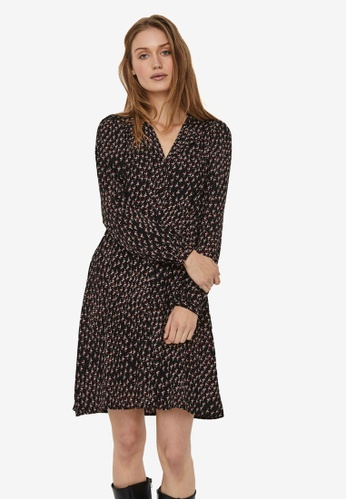 Vero Moda black Tanja Long Sleeve V-Neck Short Dress 2AF67AADEC07C3GS_1