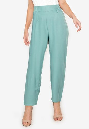 ZALORA WORK green Elasticated Waist Pants 627A7AACFB1450GS_1