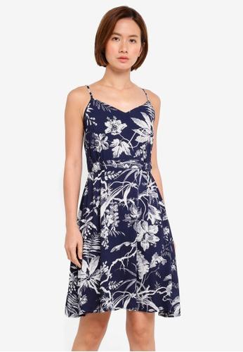 WAREHOUSE blue Fern Print Cami Dress DA84EAA628A4C3GS_1