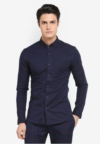 Topman navy Muscle Fit Oxford Shirt D2EADAA0F55CB7GS_1