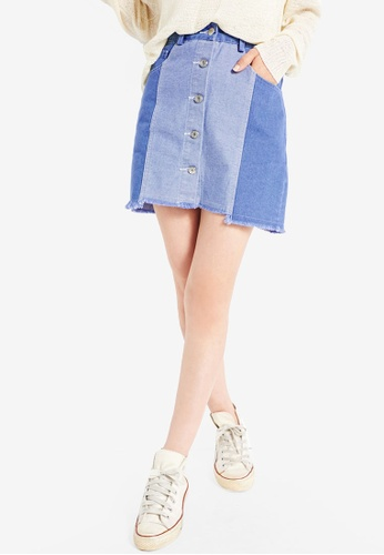 Tokichoi blue Patch Button Front A-Line Skirt E6B87AA3A30C12GS_1