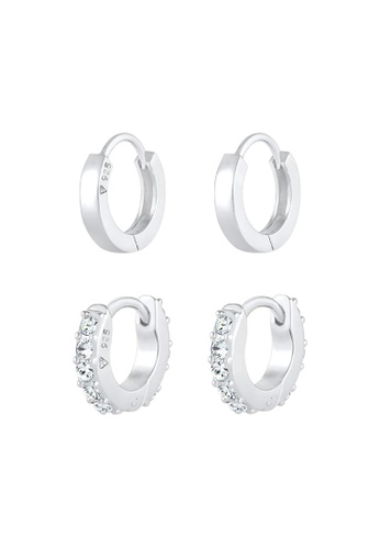 ELLI GERMANY white Earrings Set Creole Crystals 0A1C2AC5688C7DGS_1