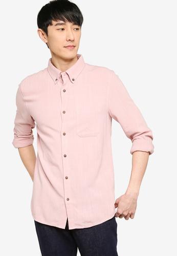 ZALORA BASICS pink Regular Button Down Linen Blend Shirt A42BCAAF2552DCGS_1