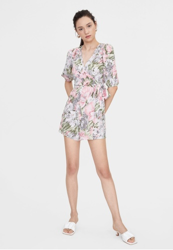 Pomelo pink Bell Sleeves Wrap Bold Floral Romper - Pink 72F18AA3944472GS_1