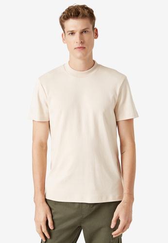 KOTON beige Crew Neck T-Shirt 8531EAA0E2E14CGS_1