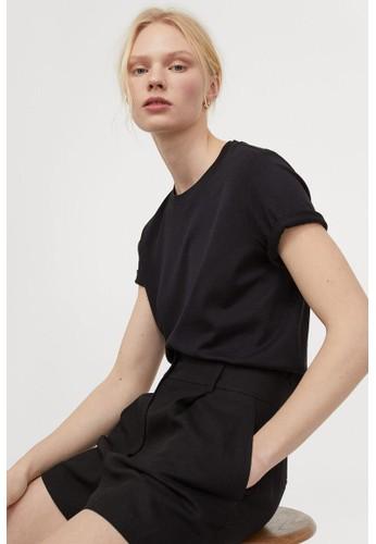 H&M black Linen-blend shorts ADB7DAAB755E99GS_1