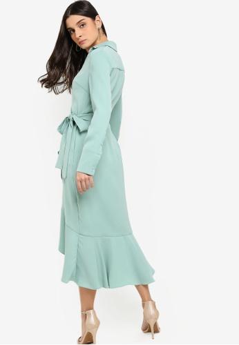 ae6da3e3e Buy Lavish Alice Frill Hem Wrap Front Shirt Dress Online on ZALORA Singapore