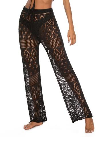 LYCKA black LTH4110-European Style Beach Casual Pants-Black A1BB4USF238917GS_1
