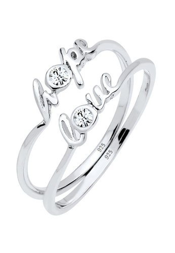 ELLI GERMANY white Elli Germany Ring Love Hope Statement Swarovski® Crystals 925 Silver DD139AC51BD799GS_1