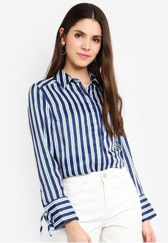 Dorothy Perkins 藍色 藍色 條紋Peachskin 襯衫 F15D7AA1006367GS_1