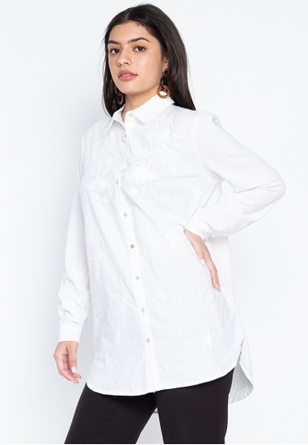 DEBENHAMS white Principles - Pc Ls Floral Embroidered Linen Shirt 6BDD0AAA110CC4GS_1