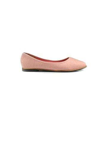 SHINE pink Point Toe Textured Satin Ballerina 35E7ESHFDF4307GS_1
