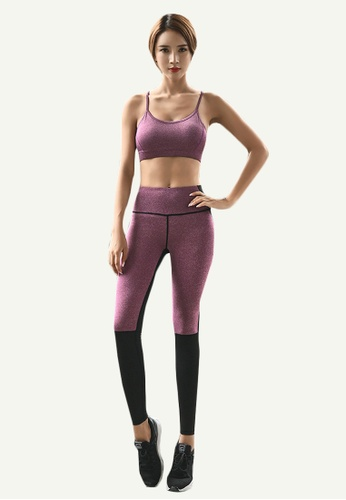 B-Code purple ZYG5025-Lady Quick Drying Running Fitness Yoga Sports Leggings-Purple 9EA09AA8B8D0A5GS_1