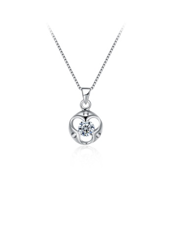 Glamorousky white 925 Sterling Silver Simple Fashion Hollow Out Geometric Round Pendant Necklace with Cubic Zircon 1C74AAC73E1C9DGS_1