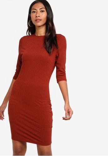 ZALORA BASICS brown Basic High Neck Elbow Sleeves Jersey Dress 9A55DAA1CD3530GS_1