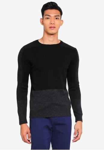 Sisley black Contrast Knit Sweater BFA30AA469D568GS_1