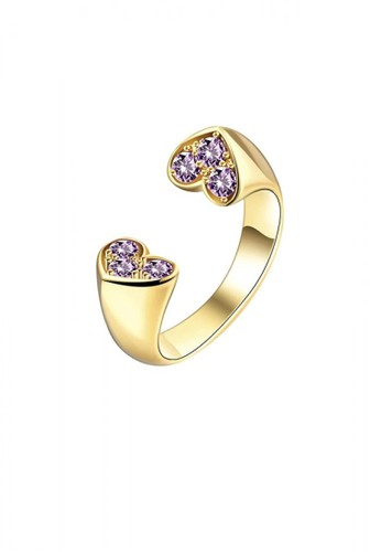 Glamorousky silver Simple and Romantic Plated Gold Double Heart Purple Cubic Zircon Adjustable Open Ring F4555AC53D38B0GS_1