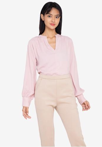 ZALORA WORK pink Notch Neck Long Sleeve Blouse F6990AAC6D2F08GS_1
