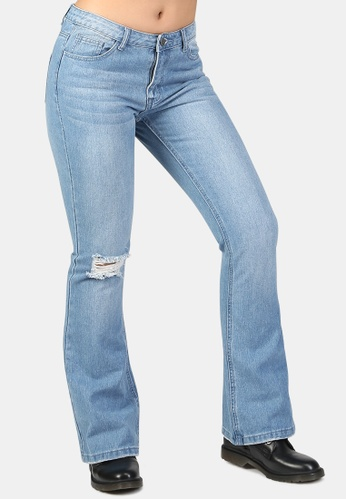 London Rag blue Flared Distressed Jeans 9AEB4AAA3C13B9GS_1