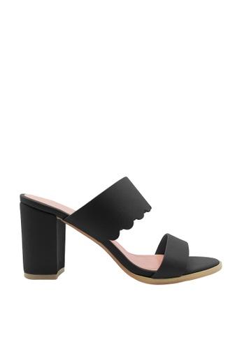 CO BLANC black CO BLANC Dual Strap Heel Sandals 3813FSH42F8AB8GS_1