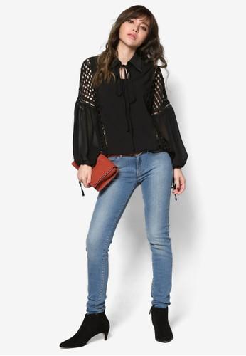 蕾絲拼接繫帶長袖esprit官網襯衫, 服飾, 上衣