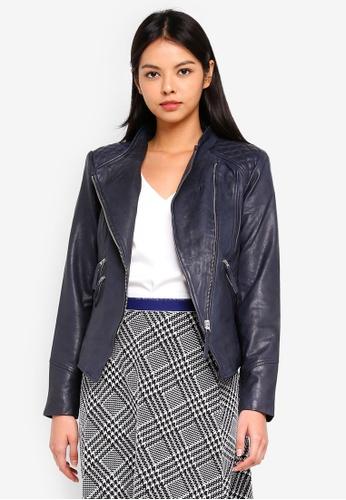 ESPRIT navy Outdoor Leather Regular Jacket 31FE8AA7C1BFECGS_1