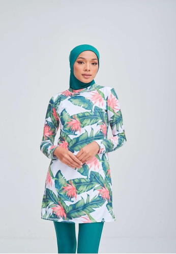 Matsalleh Design white and green and multi Tropics in Green Modest Swimwear Set E0A00USBB59237GS_1